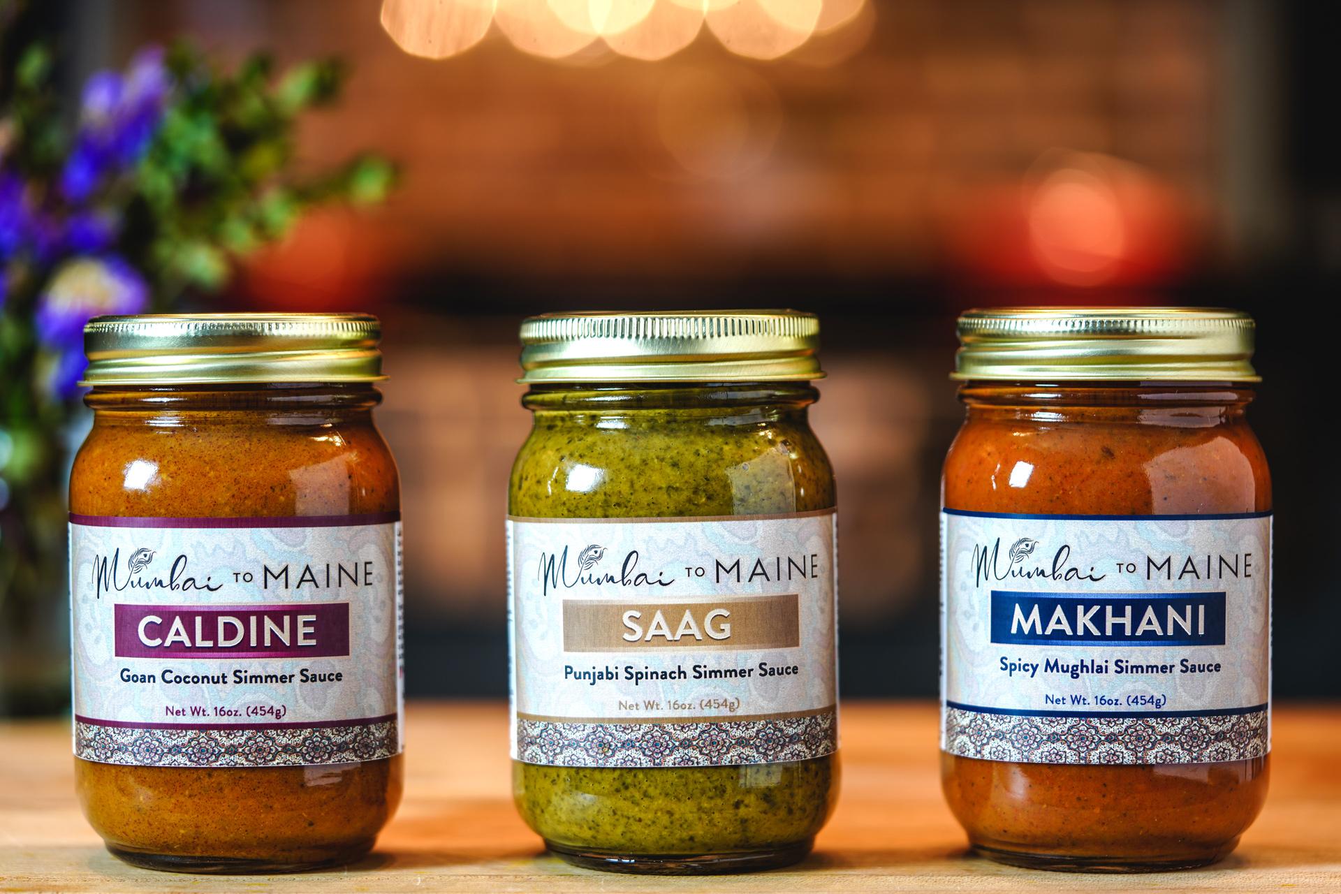 Mumbai to Maine Signature Simmer Sauces Variety Pack - Caldine, Makhani and Saag
